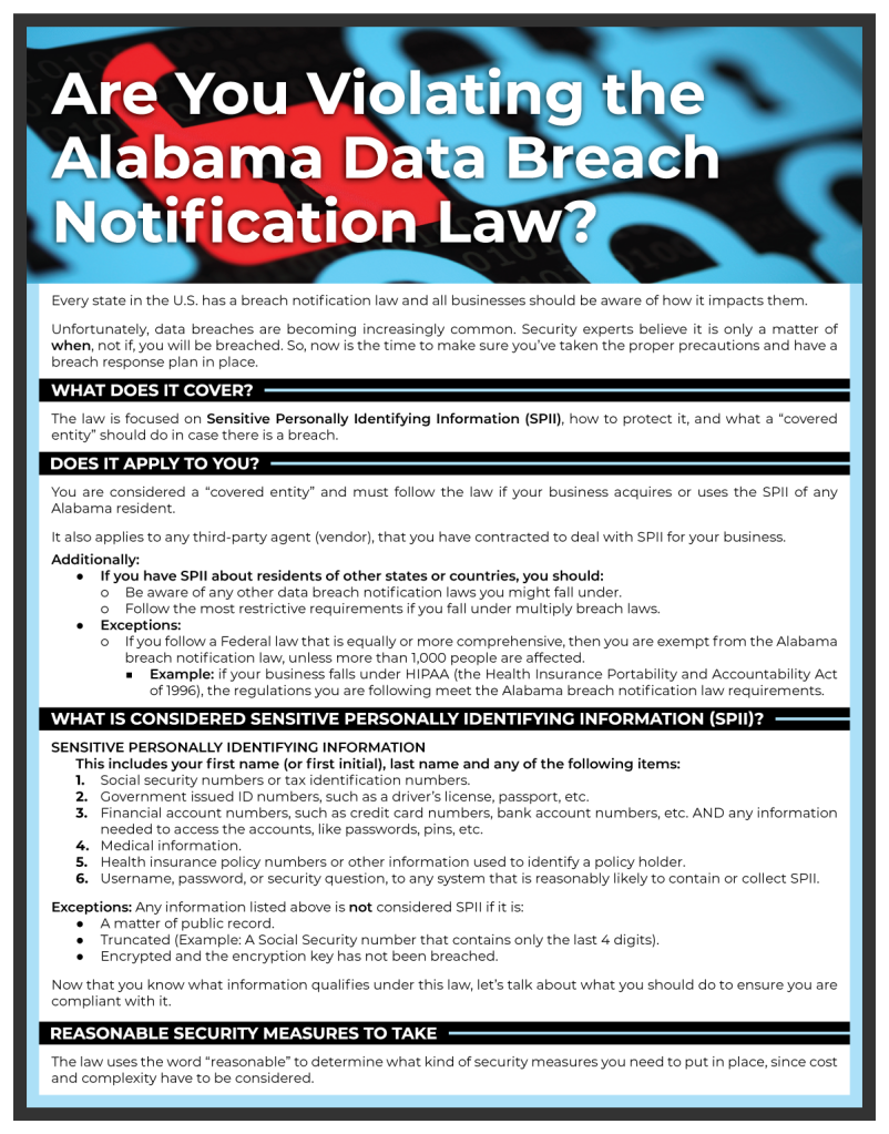 Alabama Data Breach Notification Law Web Download | Sawyer Solutions | 2019 (1 of 2)