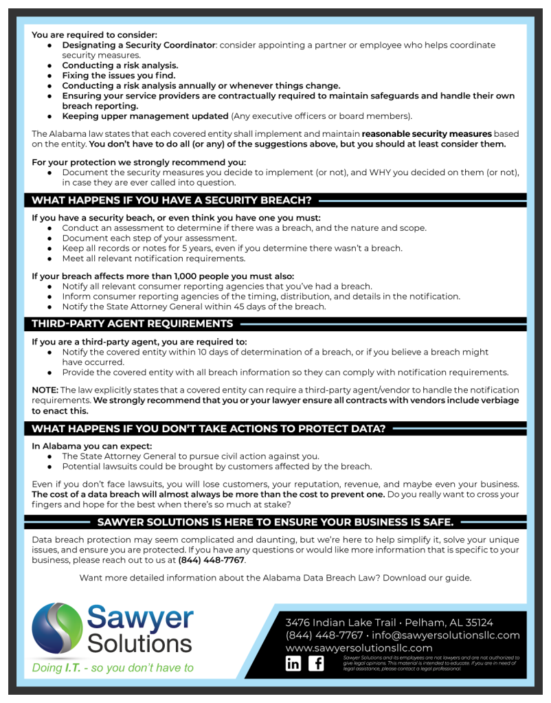 Alabama Data Breach Notification Law Web Download | Sawyer Solutions | 2019 (2 of 2)