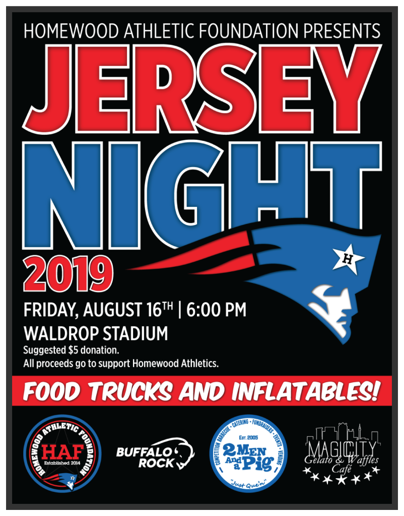 Jersey Night Event Flyer | Homewood Athletic Foundation | 2019