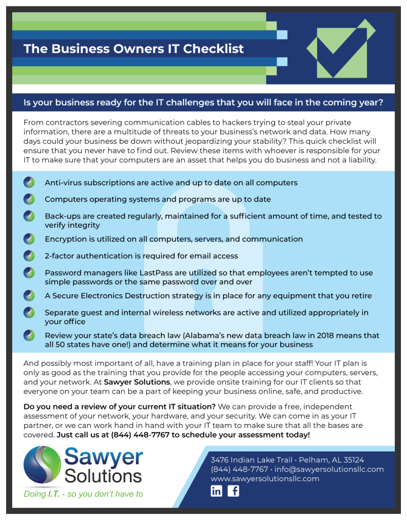 """The Business Owners IT Checklist"" Web Download 