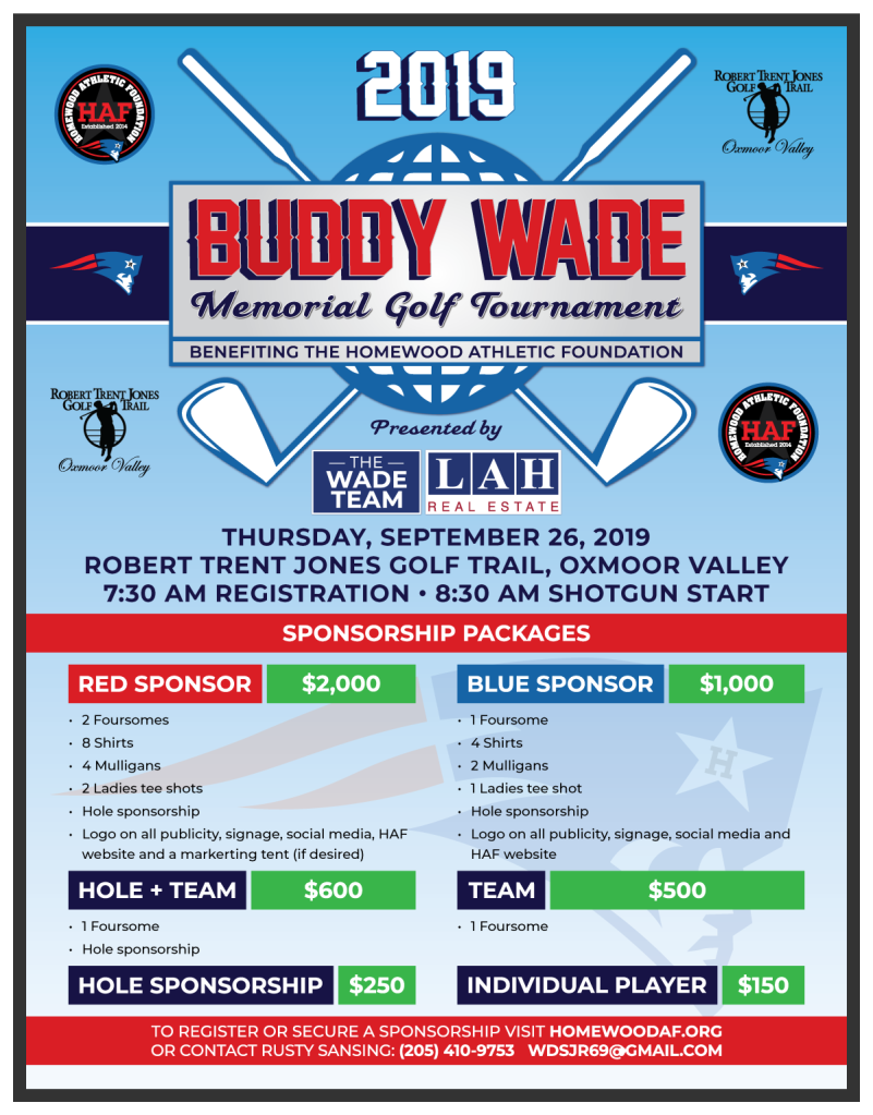 Buddy Wade Memorial Golf Tournament Sponsorship Packages | Homewood Athletic Foundation | 2019