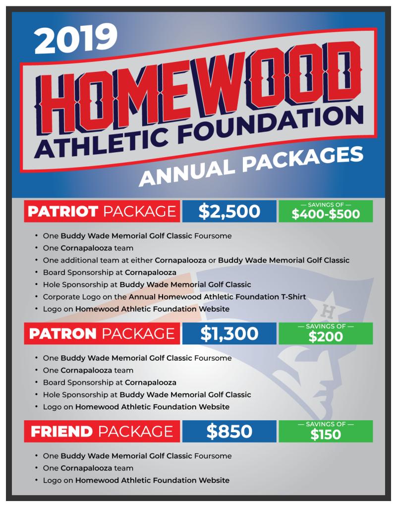 Homewood Athletic Foundation 2019 Sponsorship Packages | Homewood Athletic Foundation | 2019